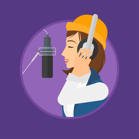 Young woman in headphones singing in recording studio. Singer making a record of her voice. Young singer recording a song. Vector flat design illustration in the circle isolated on background.