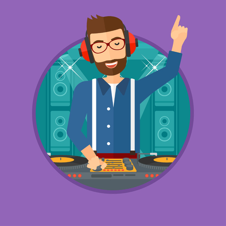 turntables: Hipster young DJ with the beard mixing music on turntables on the stage of nightclub. DJ playing and mixing music on deck. Vector flat design illustration in the circle isolated on background.