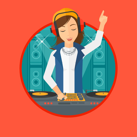 Young DJ mixing music on turntables on the stage of nightclub. DJ playing and mixing music on deck with vinyl record. Vector flat design illustration in the circle isolated on background.  イラスト・ベクター素材