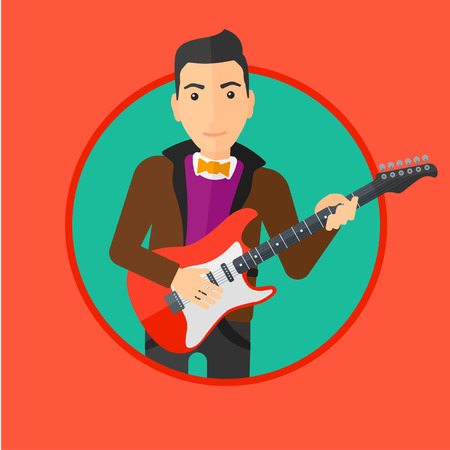 guy playing guitar: Young musician playing electric guitar. Man practicing in playing guitar. Guitarist playing music. Vector flat design illustration in the circle isolated on background.