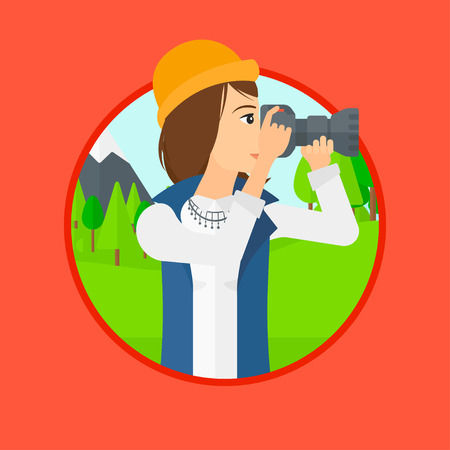 Young woman taking a photo of landscape. Photographer taking a picture in the mountains. Nature photographer with digital camera. Vector flat design illustration in the circle isolated on background.
