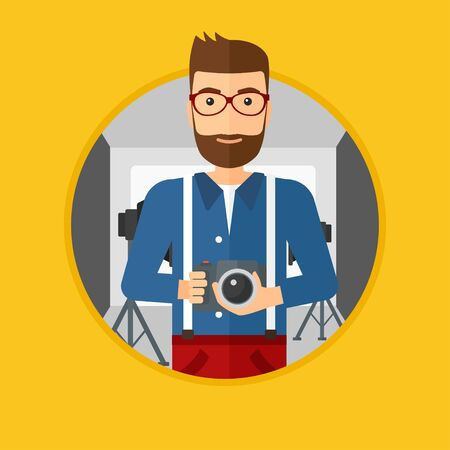 A hipster photographer with the beard holding a camera in photo studio. Photographer using professional camera in the studio. Vector flat design illustration in the circle isolated on background. Çizim