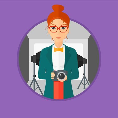 cartoon umbrella: Photographer holding a camera in photo studio. Photographer using camera in the studio. Woman taking photo with digital camera. Vector flat design illustration in the circle isolated on background.