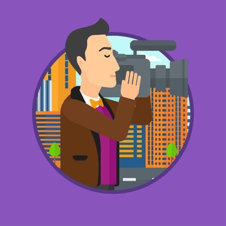 video shooting: Young cameraman looking through movie camera. Man with professional video camera in the city. Cameraman shooting outdoor. Vector flat design illustration in the circle isolated on background. Illustration