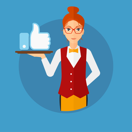 like button: Waitress carrying a tray with like button. Waitress holding restaurant tray with like button. Waitress with social network button. Vector flat design illustration in the circle isolated on background.
