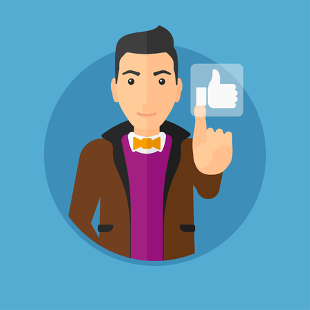 like button: Young man pressing like button. Man pressing modern social button with thumb up. Man pressing social network button. Vector flat design illustration in the circle isolated on background.
