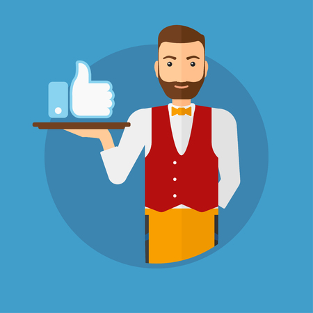 like button: Hipster waiter carrying tray with like button. Waiter holding restaurant tray with like button. Waiter with social network button. Vector flat design illustration in the circle isolated on background. Illustration