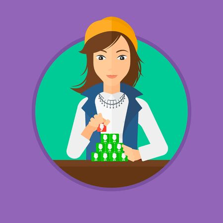 networking people: Young woman making pyramid of network avatars. Woman building her social network. Networking and communication concept. Vector flat design illustration in the circle isolated on background.