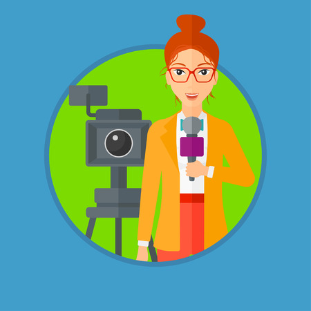 Reporter with microphone standing on a background with camera. TV reporter presenting the news. TV transmission with a reporter. Vector flat design illustration in the circle isolated on background. Illustration