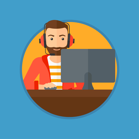 users video: Hipster man with the beard playing computer game. Gamer in headphones playing online games. Gamer using computer for playing game. Vector flat design illustration in the circle isolated on background.