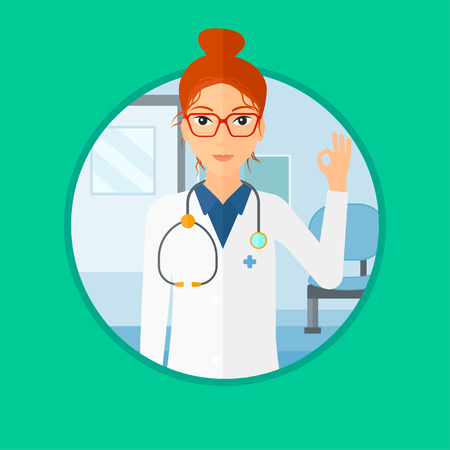 ok sign: Doctor in medical gown showing ok sign. Smiling doctor gesturing ok sign. Doctor with ok sign gesture in the hospital corridor. Vector flat design illustration in the circle isolated on background. Illustration