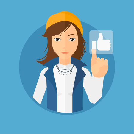 like button: Young woman pressing like button. Woman pressing modern social button with thumb up. Woman pressing social network button. Vector flat design illustration in the circle isolated on background. Illustration