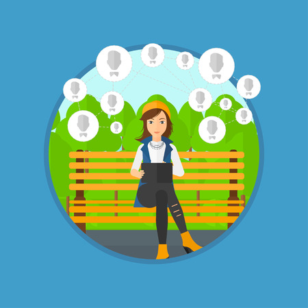 young woman sitting: Young woman sitting on a bench in the park and using a tablet computer with network avatar icons above. Social network concept. Vector flat design illustration in the circle isolated on background.