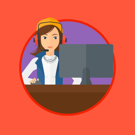 computer games: Young woman playing computer games. Gamer in headphones playing online games. Concentrated gamer using computer for playing game. Vector flat design illustration in the circle isolated on background.