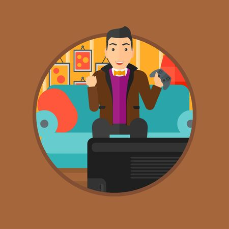playing video games: Happy gamer playing video game on the television. An excited young man with console in hands playing video game at home. Vector flat design illustration in the circle isolated on background.