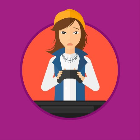 playing video game: Woman playing video game on the television. Tired gamer sitting on the couch with console in hands. Concept of addiction to games. Vector flat design illustration in the circle isolated on background. Illustration