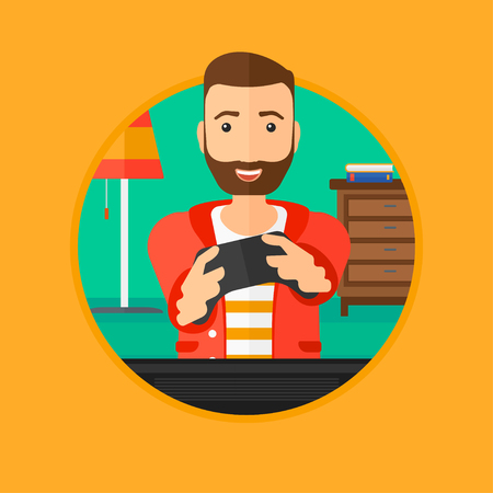gamer: Happy gamer playing video game on the television. An excited young man with console in hands playing video game at home. Vector flat design illustration in the circle isolated on background.