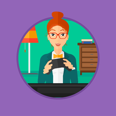 home video: Happy gamer playing video game on the television. An excited young woman with console in hands playing video game at home. Vector flat design illustration in the circle isolated on background. Illustration