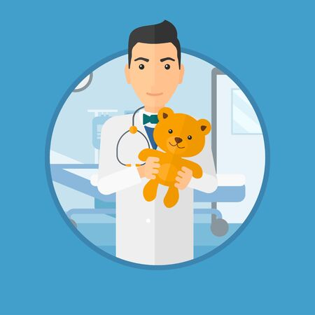 pediatrician: Young male pediatrician doctor holding a teddy bear. Professional pediatrician doctor with a teddy bear in the hospital room. Vector flat design illustration in the circle isolated on background.