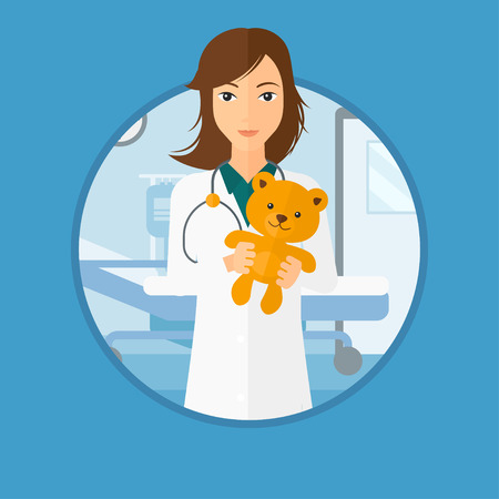 pediatrist: Young female pediatrician doctor holding a teddy bear. Professional pediatrician doctor with a teddy bear in the hospital room. Vector flat design illustration in the circle isolated on background.