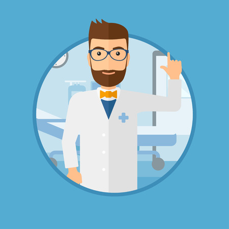hospital gown: Doctor in medical gown showing finger up. Doctor with finger up in the hospital ward. Man in doctor uniform pointing finger up. Vector flat design illustration in the circle isolated on background. Illustration