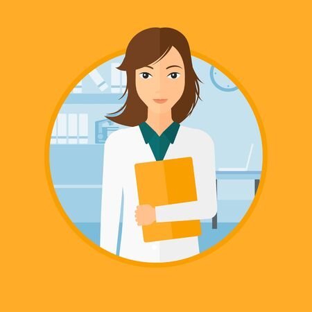 Friendly doctor holding a file in medical office. Female professional doctor carrying folder of patient or medical information. Vector flat design illustration in the circle isolated on background.