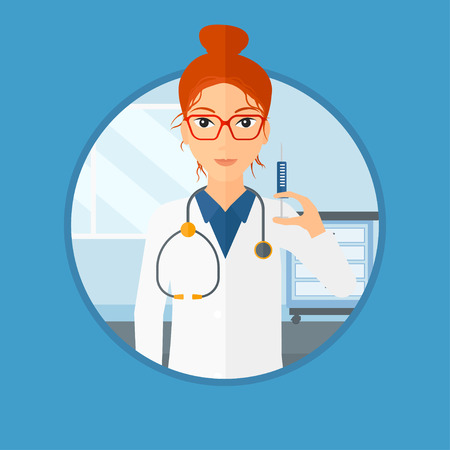an injector: Doctor holding medical injection syringe. Doctor with syringe in hospital ward. Doctor holding a syringe ready for injection. Vector flat design illustration in the circle isolated on background.