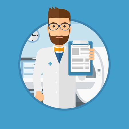 Male doctor showing clipboard with prescription. Doctor holding clipboard on the background of hospital room with MRI machine. Vector flat design illustration in the circle isolated on background. 向量圖像