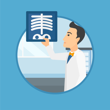 radiography: Doctor examining a radiograph. Doctor looking at a chest radiograph in the medical office. Doctor observing a skeleton radiograph. Vector flat design illustration in the circle isolated on background. Illustration