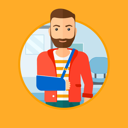 hospital corridor: An injured hipster man with the beard wearing an arm brace. Man with his broken right arm standing in the hospital corridor. Vector flat design illustration in the circle isolated on background.