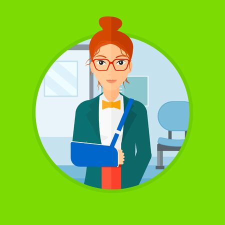 broken arm: An injured woman wearing an arm brace. Woman with broken right arm standing in the hospital corridor. Patient with injured arm. Vector flat design illustration in the circle isolated on background.