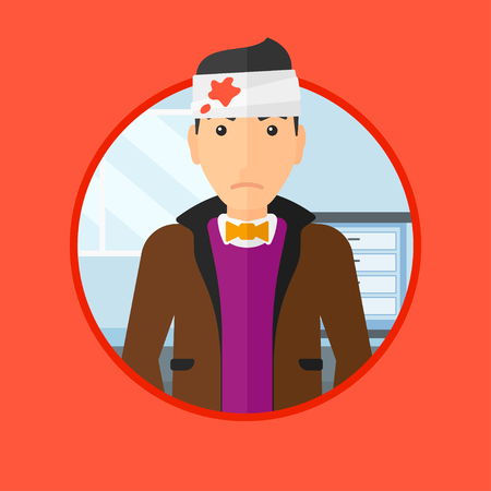 bandaged: A man with bandages over his head. Sad man with a bandaged head in the medical office. Young wounded man in the hospital. Vector flat design illustration in the circle isolated on background.
