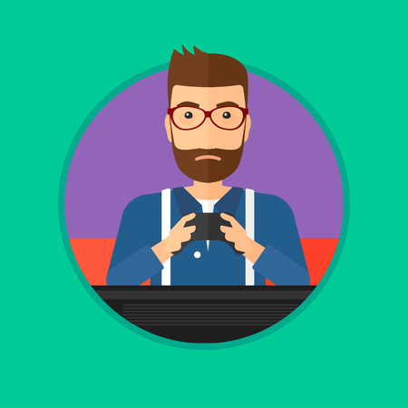 Man playing video game on the television. Tired hipster gamer with the beard with console in hands. Concept of addiction to games. Vector flat design illustration in the circle isolated on background.
