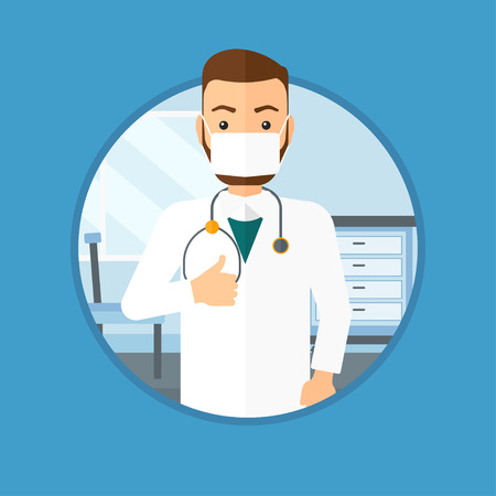 protective gown: A hipster doctor in mask giving thumbs up. Doctor with thumbs up in the hospital room. Doctor showing thumbs up gesture. Vector flat design illustration in the circle isolated on background.