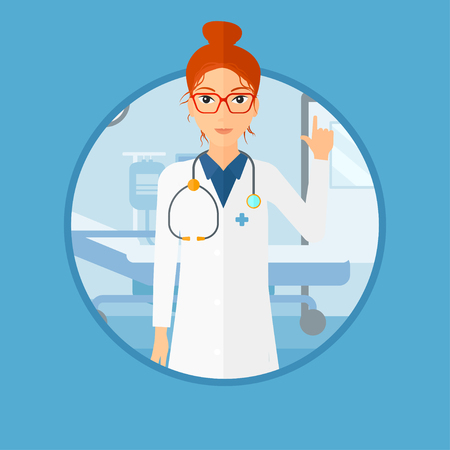 hospital gown: Doctor in medical gown showing finger up. Doctor with finger up in the hospital ward. Woman in doctor uniform pointing finger up. Vector flat design illustration in the circle isolated on background.