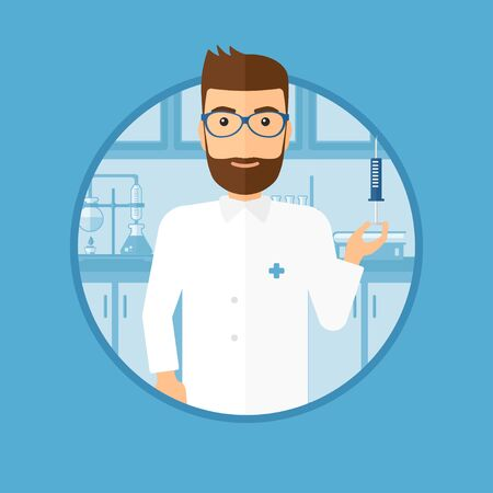 medical assistant: Laboratory assistant holding syringe. Laboratory assistant with syringe in a laboratory. Laboratory assistant making medical test. Vector flat design illustration in the circle isolated on background. Illustration