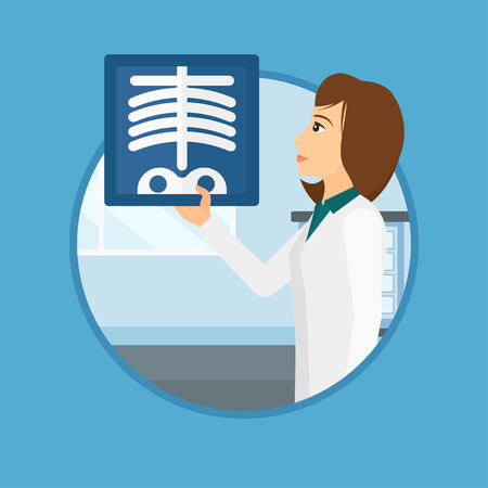 radiograph: Doctor examining a radiograph. Doctor looking at a chest radiograph in the medical office. Doctor observing a skeleton radiograph. Vector flat design illustration in the circle isolated on background. Illustration