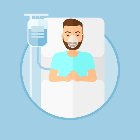 reanimation: Hipster man with the beard lying in hospital bed with oxygen mask. Man during medical procedure with drop counter at medical room. Vector flat design illustration in the circle isolated on background.