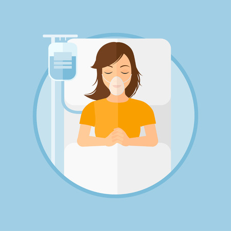 Young woman lying in hospital bed with oxygen mask. Woman during medical procedure with drop counter at medical room. Vector flat design illustration in the circle isolated on background. Иллюстрация