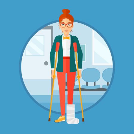 hospital corridor: An injured woman with leg in plaster. Young woman with broken using crutches. Woman with fractured leg in the hospital corridor. Vector flat design illustration in the circle isolated on background.