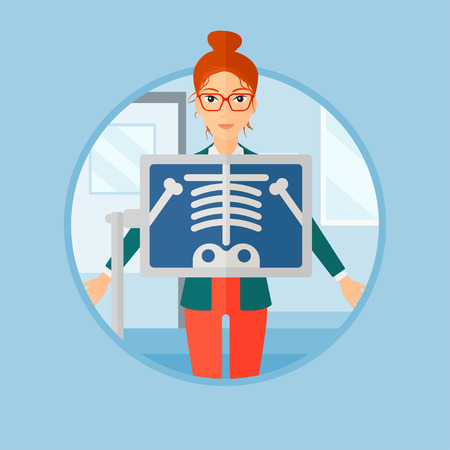 chest x ray: Patient during chest x ray procedure in examination room. Young woman with x ray screen showing his skeleton at doctor office. Vector flat design illustration in the circle isolated on background.