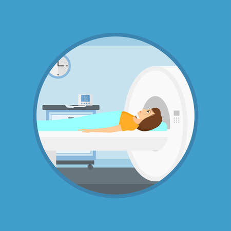 Young woman undergoes magnetic resonance imaging scan test at hospital room. Magnetic resonance imaging machine scanning patient. Vector flat design illustration in the circle isolated on background.