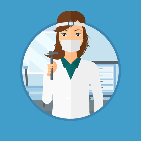 otolaryngologist: Ear nose throat doctor standing in the medical office. Doctor with tools used for examination of ear, nose, throat. Vector flat design illustration in the circle isolated on background.