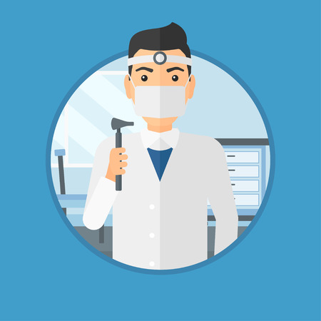 listening ear: Ear nose throat doctor standing in the medical office. Doctor with tools used for examination of ear, nose, throat. Vector flat design illustration in the circle isolated on background.