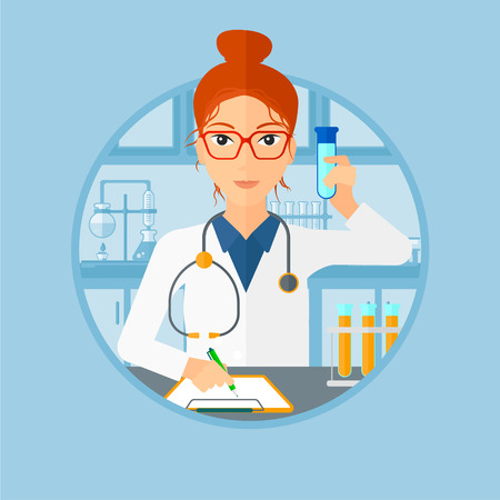 medical assistant: Laboratory assistant making medical test and taking some notes. Young laboratory assistant working with a test tube at the lab. Vector flat design illustration in the circle isolated on background. Illustration