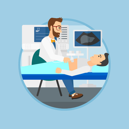doctor and patient vector: Doctor examining internal organs of a patient on the ultrasound. Doctor working on modern ultrasound equipment at medical office. Vector flat design illustration in the circle isolated on background. Illustration