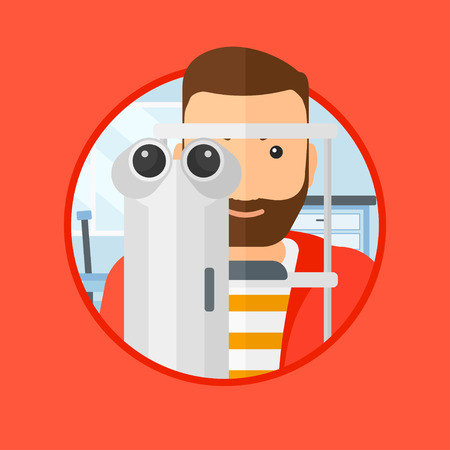 eye exams: Man during an eye examination. Man visiting optometrist at the medical office. Man undergoing medical examination at the oculist. Vector flat design illustration in the circle isolated on background.
