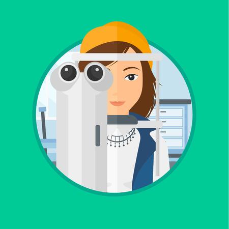 oculist: Mujer durante un examen ocular. Mujer visitando optometrista. Mujer sometida a examen médico en el oculista. Vector ilustración de diseño plano en el círculo aislado en el fondo.