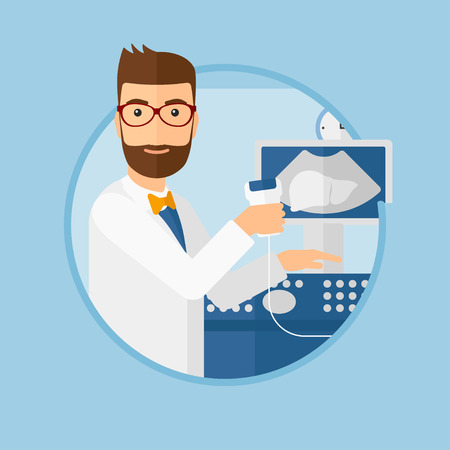 medical scanner: Hipster male doctor with ultrasound scanner in the hands. Male doctor working on modern ultrasound equipment at medical office. Vector flat design illustration in the circle isolated on background.