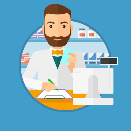 druggist: Male pharmacist writing on clipboard and holding prescription in hand. Pharmacist in medical gown standing at pharmacy counter. Vector flat design illustration in the circle isolated on background. Illustration